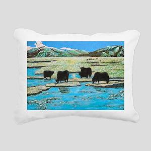 Nature with Yaks Rectangular Canvas Pillow