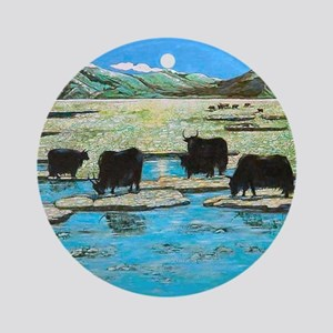 Nature with Yaks Round Ornament