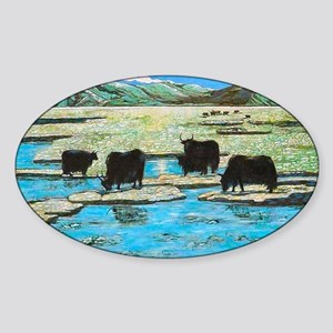 Nature with Yaks Sticker (Oval)