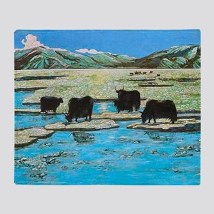 Nature with Yaks Throw Blanket