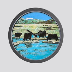 Nature with Yaks Wall Clock