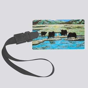 Nature with Yaks Large Luggage Tag