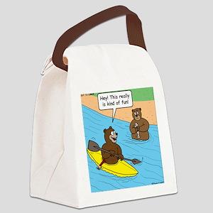 Bear Kayaking Canvas Lunch Bag