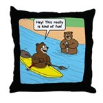 Bear Kayaking Throw Pillow