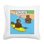 Bear Kayaking Square Canvas Pillow