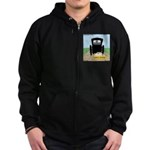 Amish Bumper Sticker Zip Hoodie (dark)