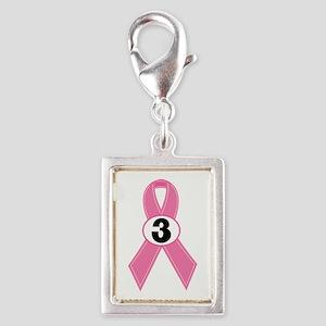 Breast Cancer 3 Year Ribbon Silver Portrait Charm