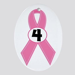 Breast Cancer 4 Year Ribbon Ornament (Oval)