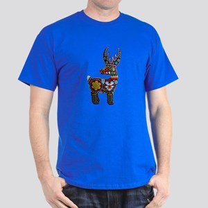 Huichol Art: 'Beaded Stag' Men's Dark T-Shirt