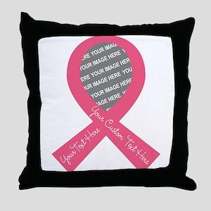 CUSTOM TEXT PHOTO Pink Ribbon Throw Pillow