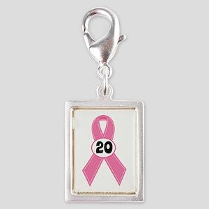 Breast Cancer 20 Year Ribbon Silver Portrait Charm