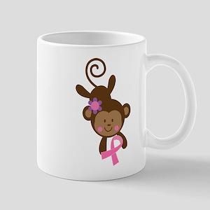 Breast Cancer Ribbon Monkey Mug