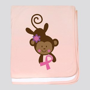 Breast Cancer Pink Ribbon Monkey baby blanket
