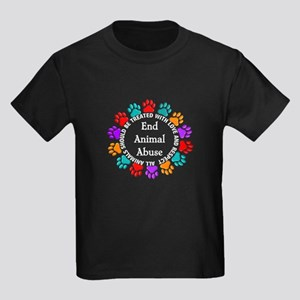 End Animal Abuse Kids Dark T-Shirt