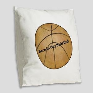 Basketball Burlap Throw Pillow