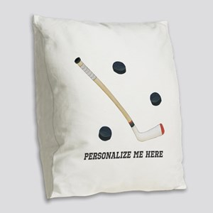 Personalized Hockey Burlap Throw Pillow