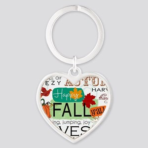 Autumn Subway Art Heart Keychain