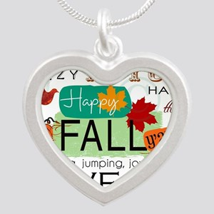 Autumn Subway Art Silver Heart Necklace