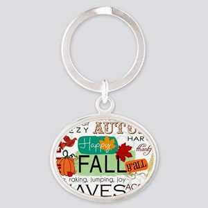 Autumn Subway Art Oval Keychain