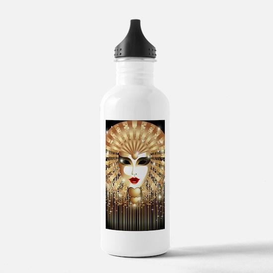 Golden Venice Carnival Mask Water Bottle