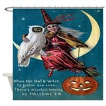 Vintage Halloween Witch and Owl Shower Curtain