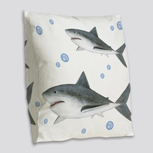 Shark Burlap Throw Pillow