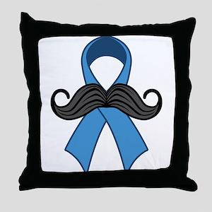 Prostate Awareness Ribbon Moustache Throw Pillow