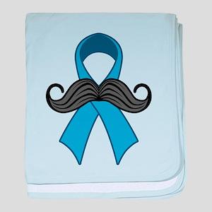 Prostate Awareness Ribbon Moustache baby blanket