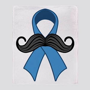 Prostate Awareness Ribbon Moustache Throw Blanket