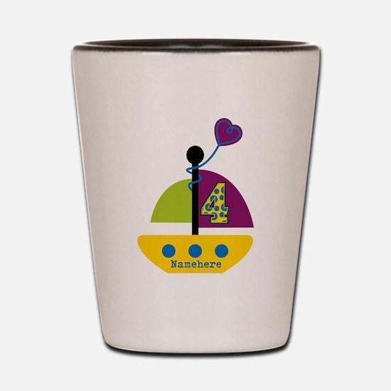 Personalized 4th Birthday Sailboat Shot Glass