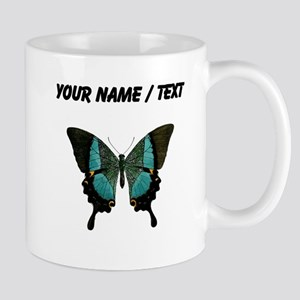 Custom Blue And Black Butterfly Mugs