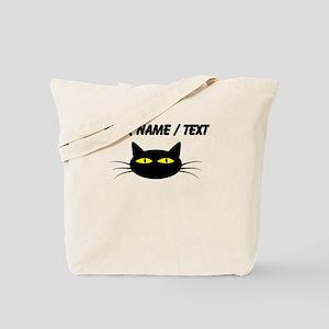 Custom Black Cat Face Tote Bag