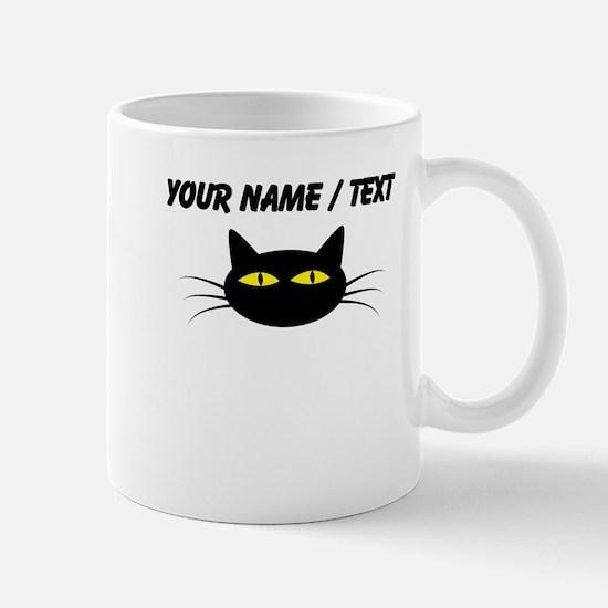 Custom Black Cat Face Mugs