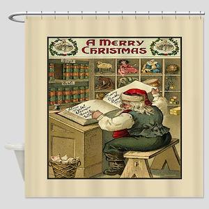 Vintage Christmas Santa List Shower Curtain