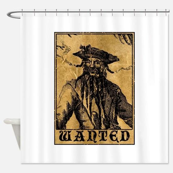 Blackbeard Wanted Poster Shower Curtain