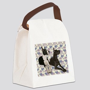 Great Danes and Flowers Canvas Lunch Bag