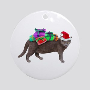Santa Cat Presents Ornament (Round)