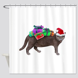 Santa Cat Presents Shower Curtain