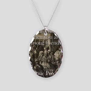Time Flies When - Basque Proverb Necklace Oval Cha