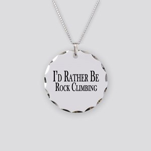 Rather Be Rock Climbing Necklace Circle Charm