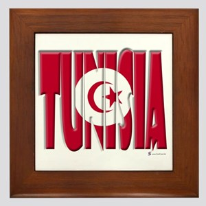 Word Art Flag Tunisia Framed Tile