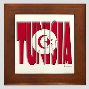 Word Art Flag Tunisia Framed Tile