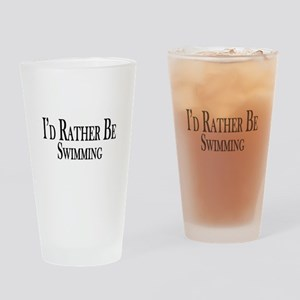 Rather Be Swimming Drinking Glass