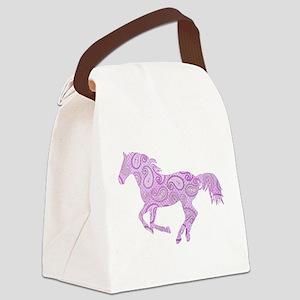 Purple Paisley Horse Canvas Lunch Bag