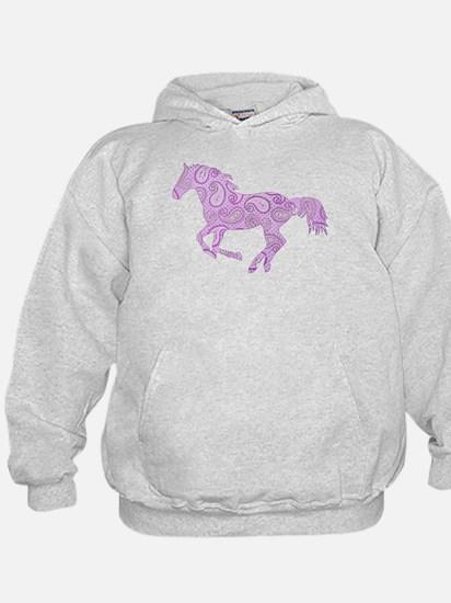 Purple Paisley Horse Hoodie