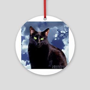 Black Cat in Clouds Ornament (Round)