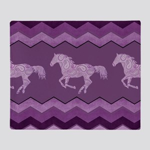 Purple Paisley Horse Throw Blanket