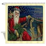 Vintage Christmas Santa Sleigh Shower Curtain