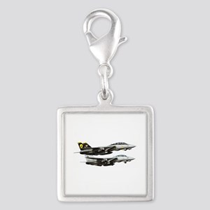 F-14 Tomcat Fighter Silver Square Charm