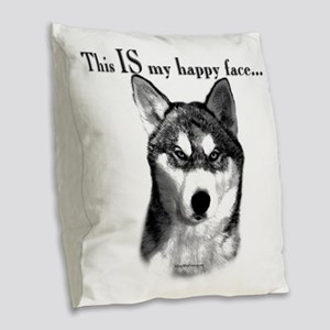 Sibe Happy Face Burlap Throw Pillow